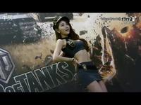 韩国性感美女陪你打炮!G-star坦克世界展台